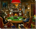 Deer Camp Deer Playing Poker Wrapped Canvas Giclee Print Wall Art