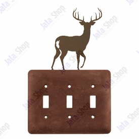 Deer Triple Toggle Metal Switch Plate Cover