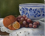 Delft II Oranges and Grapes Wrapped Canvas Giclee Print Wall Art
