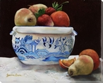 Delft IV Bowl of Assorted Fruits Wrapped Canvas Giclee Print