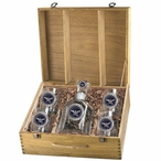 Department of Defense USA Blue Capitol Decanter & DOF Glasses Box Set
