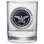 Department of Defense Blue Pewter Double Old Fashion Glasses, Set of 2