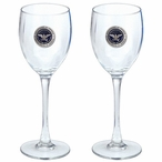 Department of Defense Blue Pewter Accent Wine Glass Goblets, Set of 2