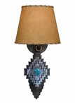 Desert Diamond with Turquoise Arrow Metal Wall Sconce with Shade