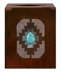 Desert Diamond with Turquoise Stone Metal Boutique Tissue Box Cover
