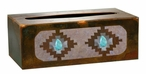 Desert Diamond with Turquoise Stone Metal Flat Tissue Box Cover