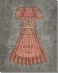 Diagrammatic Coral Dress Wrapped Canvas Giclee Print Wall Art