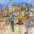 Dining Out in Paris Wrapped Canvas Giclee Art Print Wall Art