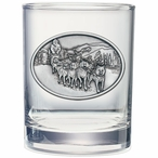 Dog Sled Pewter Accent Double Old Fashion Glasses, Set of 2