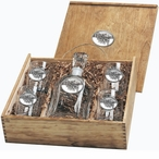 Dog Sled White Capitol Decanter & DOF Glasses Box Set with Pewter