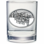 Dog Sled White Pewter Accent Double Old Fashion Glasses, Set of 2