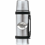 Dog Sled White Stainless Steel Thermos with Pewter Accent
