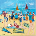 Dogs at the Beach Wrapped Canvas Giclee Print Wall Art