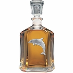Dolphin #1 Capitol Glass Decanter with Pewter Accents