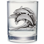 Dolphin #2 Pewter Accent Double Old Fashion Glasses, Set of 2