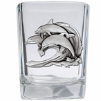 Dolphin #2 Pewter Accent Shot Glasses, Set of 4