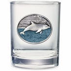 Dolphin Blue Pewter Accent Double Old Fashion Glasses, Set of 2
