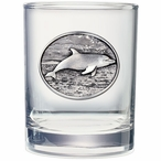 Dolphin Pewter Accent Double Old Fashion Glasses, Set of 2
