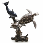 Dolphin Swimming with Two Turtles Statue