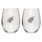 Dolphins Pewter Accent Stemless Wine Glass Goblets, Set of 2