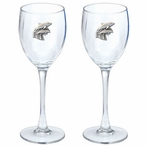 Dolphins Pewter Accent Wine Glass Goblets, Set of 2
