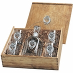 Double Kokopelli Capitol Decanter & DOF Glasses Box Set with Pewter