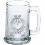 Double Kokopelli Glass Beer Mug with Pewter Accent