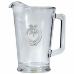 Double Kokopelli Glass Pitcher with Pewter Accent