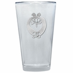 Double Kokopelli Pint Beer Glasses with Pewter Accent, Set of 2