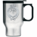 Double Kokopelli Stainless Steel Travel Mug w/ Handle & Pewter Accent