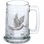 Dove Bird Glass Beer Mug with Pewter Accent