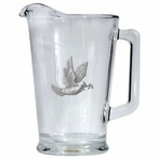 Dove Bird Glass Pitcher with Pewter Accent