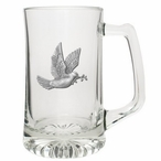 Dove Bird Glass Super Beer Mug with Pewter Accent