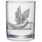 Dove Bird Pewter Accent Double Old Fashion Glasses, Set of 2