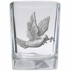 Dove Bird Pewter Accent Shot Glasses, Set of 4