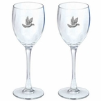 Dove Bird Pewter Accent Wine Glass Goblets, Set of 2