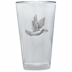 Dove Bird Pint Beer Glasses with Pewter Accent, Set of 2