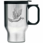 Dove Bird Stainless Steel Travel Mug with Handle and Pewter Accent