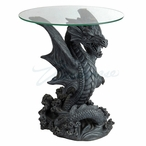 Dragon Jumping Out of Water Round Glass End Table