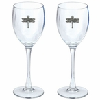 Dragonfly Pewter Accent Wine Glass Goblets, Set of 2