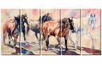 Drive at Five Horses Wrapped Canvas Giclee Wall Art Print, Set of 5