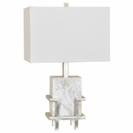 Dumont Marble and Metal Table Lamp with White Linen Shade