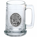 Eagle Bird Landing Glass Beer Mug with Pewter Accent