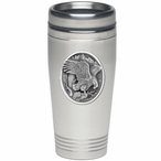 Eagle Bird Landing Stainless Steel Travel Mug with Pewter Accent