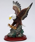 Eagle Bird Porcelain Sculpture on Wood Base
