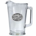 Eagle Bird Soaring Glass Pitcher with Pewter Accent