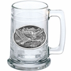 Eagle Birds Flying Glass Beer Mug with Pewter Accent