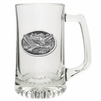 Eagle Birds Flying Glass Super Beer Mug with Pewter Accent