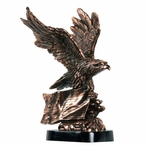 Eagle Holding American Flag Statue - Copper Finish