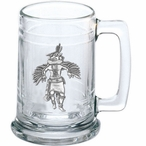 Eagle Kachina Glass Beer Mug with Pewter Accent